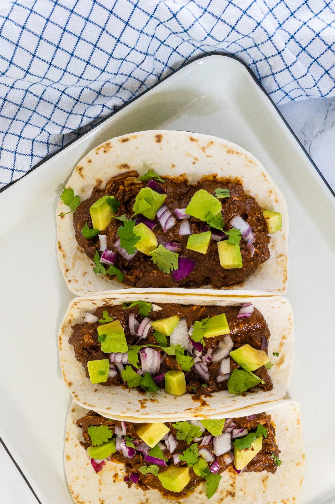 Mexicaans recept mole kip taco's