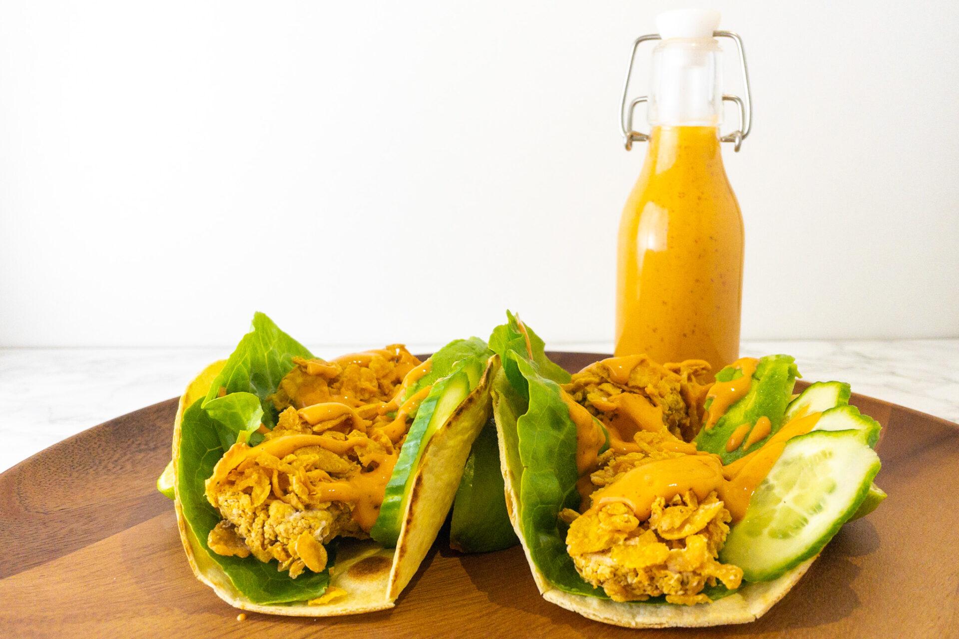 Vegan krokante kikkererwt taco's